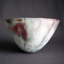Flame bowl, pit fired porcelain with copper, 12cm high x 21cm wide £60